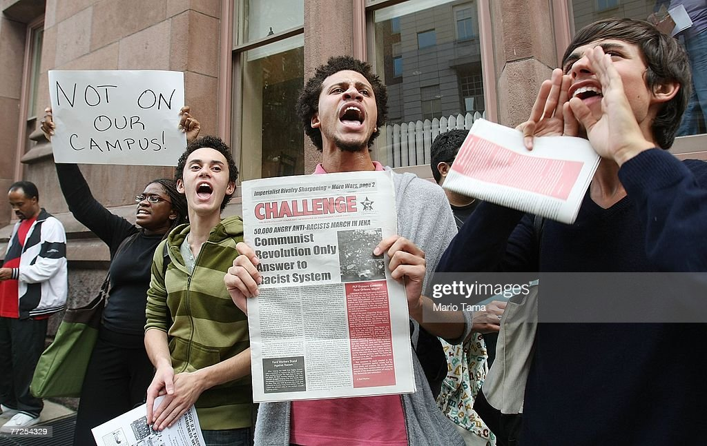 Protesters rally at Teachers College at Columbia University October 10, 2007, in New York City. Black professor Madonna Constantine discovered a hangman's noose on her office door at the prestigious college yesterday sparking anger at the campus.