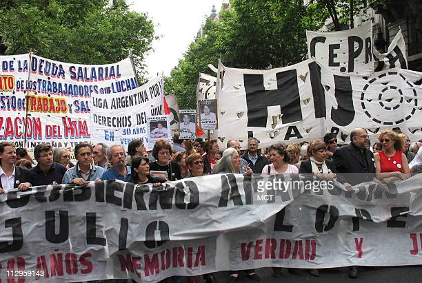 Protesters rally in Buenos Aires Argentina demanding the safe return of bricklayer Jorge Julio Lopez on November 18 2006 Lopez disappeared in...