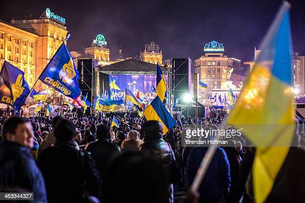 Protesters rally in Independence Square on December 3 2013 in Kiev Ukraine Thousands of people have been protesting against the government since a...