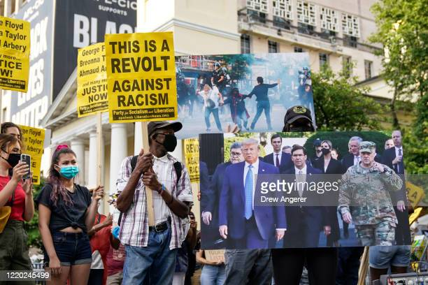 Protesters rally near Lafayette Park on June 15 2020 in Washington DC Protesters rallied to mark two weeks after law enforcement cleared protesters...
