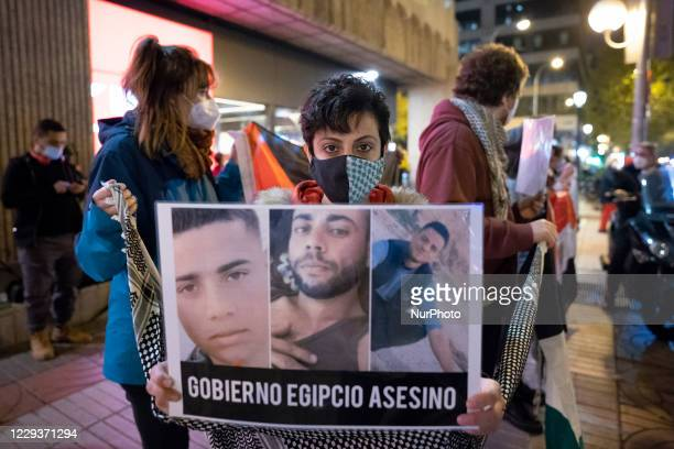 Protesters rally outside the Egyptian embassy to protest the murder of two Palestinian fishermen from Gaza by Egyptian soldiers in Madrid, Spain, on...