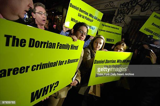 Protesters rally outside The Falls bar on Lafayette St in Manhattan which was the last place 24yearold graduate student Imette St Guillen was seen...