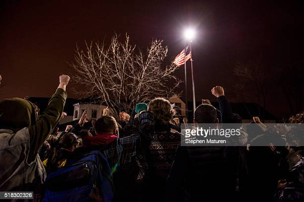 Protesters rally outside the Fourtth Precinct Police Department on March 30 2016 in Minneapolis Minnesota Earlier in the day Hennepin County Attorney...