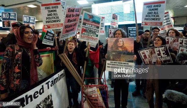 TOPSHOT Protesters rally to demand the release of Ahed Tamimi a 16yearold Palestinian girl held in Israeli military detention at Penn Station January...
