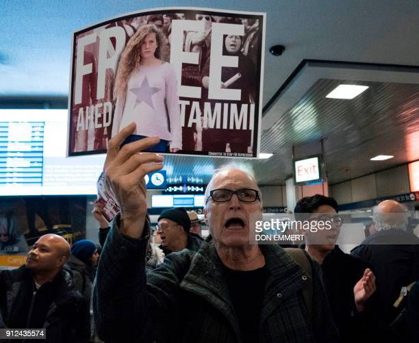 Protesters rally to demand the release of Ahed Tamimi a 16yearold Palestinian girl held in Israeli military detention at Penn Station January 30 2018...