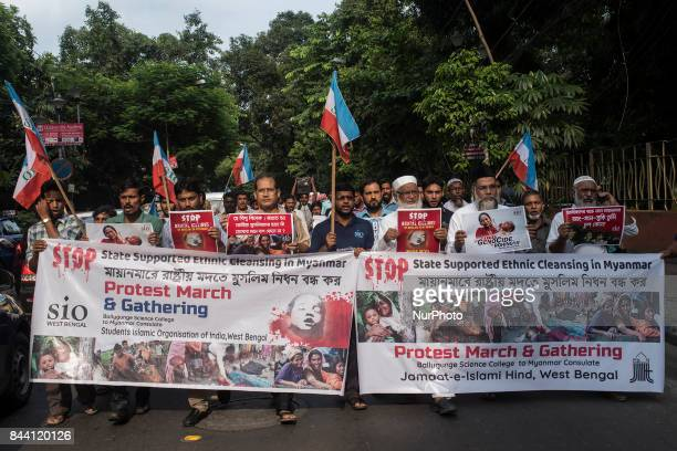 SIO protesters rallying against the mass killing of Rohingya Muslims in Kolkata India on September 2017 People of Kolkata has organized a protest...