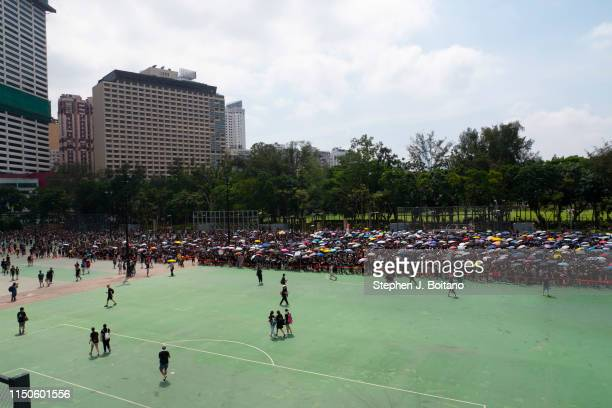 Protesters ready to march in a mass protests rally from Victoria Park to Government Complex in Hong Kong. Estimated 2 million people attended the...
