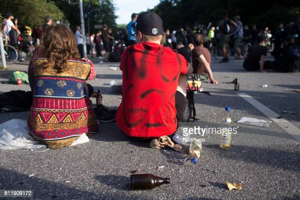 Protesters rest in between demonstrations during G 20 summit in Hamburg on July 9 2017