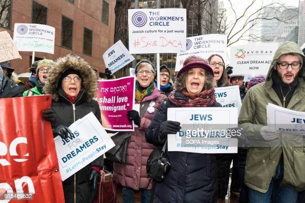 Protesters seen chanting slogans at the Pro Dreamer demonstration in New York The demonstration was sponsored by Bend the Arc Jewish Action Religious...