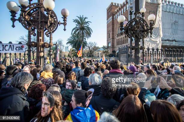 Protesters seen during a demonstration to support Carles Puigdemont former Catalan President in front of the Catalonia Parliament in Barcelona Roger...