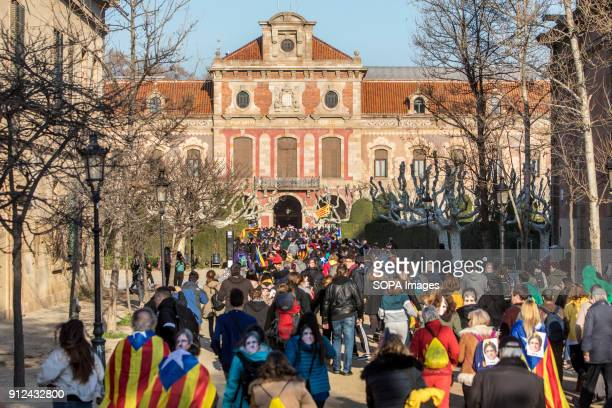 Protesters seen during a demonstration to support Carles Puigdemont former Catalan President as they march toward the Catalonia Parliament in...