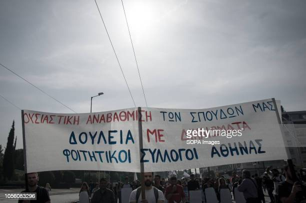 Protesters seen holding banner during the protest Thousands of students shouted no to the Gavroglu bill for higher education demanding its abolition...