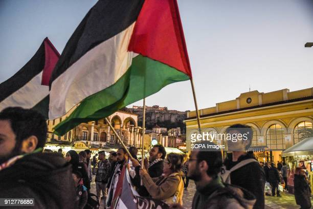 Protesters seen holding the palestinian flags during the rally to demand the release of Ahed Tamimi a 16yearold Palestinian girl held in Israeli...