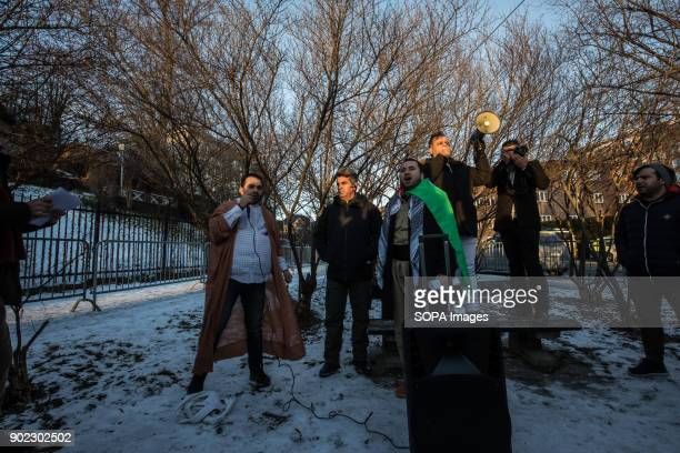 Protesters seen outside the Iranian Embassy calling on the Norwegian Government to break its silence and condemn the killings and crackdown of...