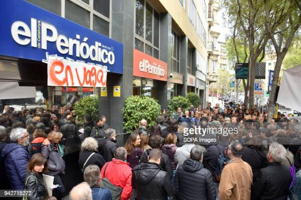 Protesters seen outside the newspaper office during the strike Workers of El Periodico de Cataluña newspaper has been on strike after the media...