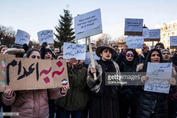 Protesters seen outside the Norwegian parliament They are condemning the killings and crackdown of protesters by the Iranian clerical regime of...