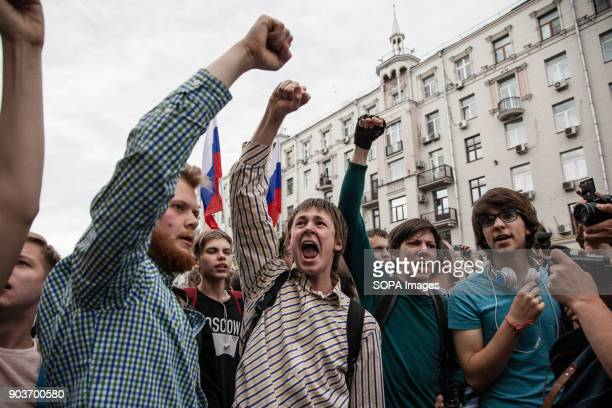 Protesters seen shouting slogans Anticorruption protest organised by opposition leader Alexei Navalny at Tverskaya Street
