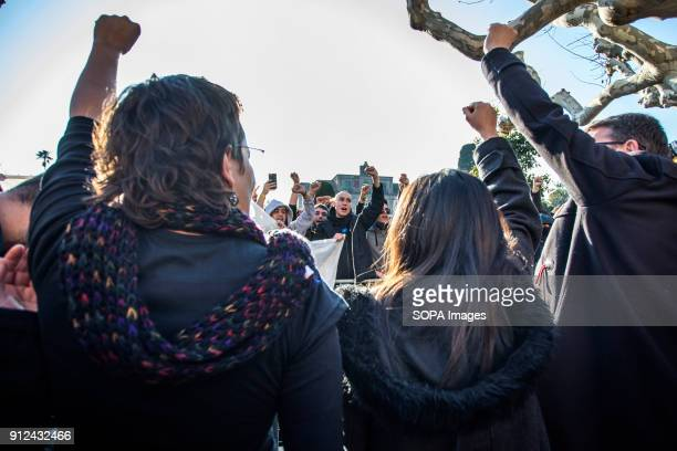 Protesters seen shouting slogans during a demonstration to support Carles Puigdemont former Catalan President in front of the Catalonia Parliament in...