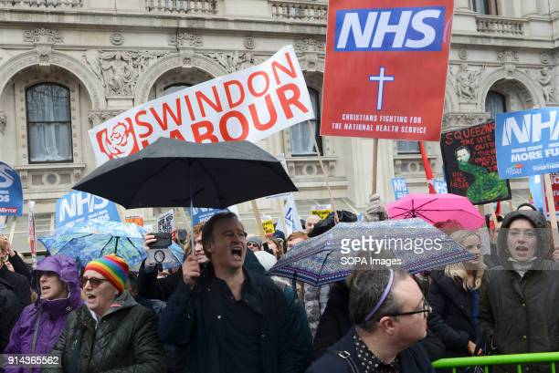 Protesters seen shouting slogans while holding several placards and posters during the demonstration Thousand of people marched in London in a...