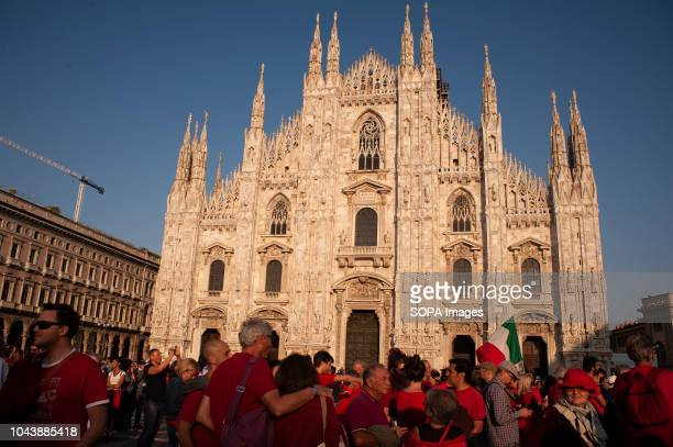 Protesters seen standing at the Duomo Square during Zero Intolerance Antiracist protest against the increasingly racist and xenophobic atmosphere in...