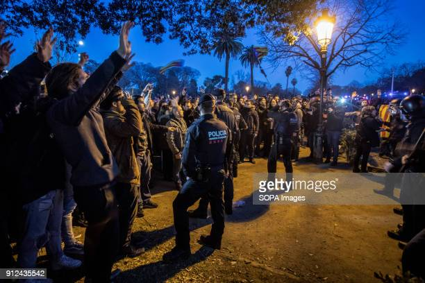 Protesters seen surrounded by Police forces during a demonstration to support Carles Puigdemont former Catalan President in front of the Catalonia...