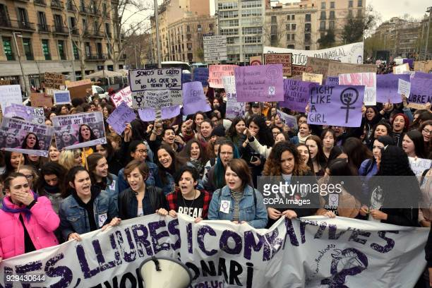 Protesters seen with banner during the March 8 international women's day to demand equal better salary and more dignity in the work Thousands of...