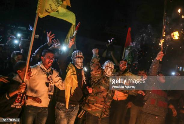 Protesters set fire as they gather to protest against the US President Donald Trumps recognition of Jerusalem as Israels capital in Gaza City Gaza on...