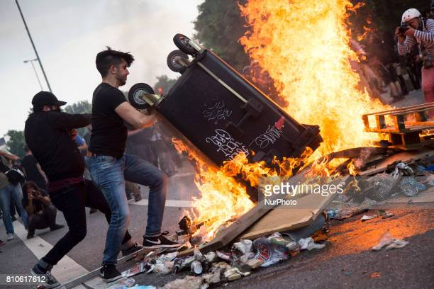 Protesters set fire on barricade during riots in St Pauli district during G 20 summit in Hamburg on July 8 2017 Authorities are braced for largescale...