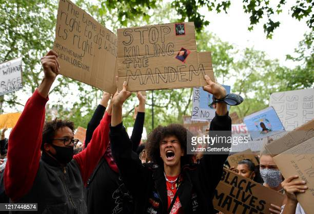 Protesters shout during a Black Lives Matter protest in Hyde Park on June 3 2020 in London United Kingdom The death of an AfricanAmerican man George...