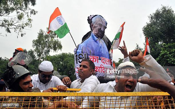 Protesters shout in rage during the protest against Prime Minister Nawaz and Adbul Qadeer Indian youth congress launched protest against Pakistan...