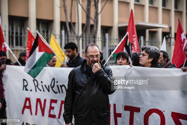 Protesters shout slogans against the visit of Israeli President Reuven Rivlin in Athens