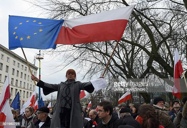 Protesters shout slogans during an anti government demonstration in Warsaw on December 19 2015 Thousands of Poles participated in demonstrations...