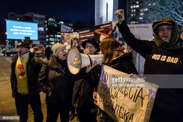 Protesters shout slogans during an antiabortion demonstration on January 10 2018 outside the Parliament in Warsaw The placard reads 'Human Rights...