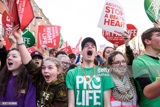 Protesters shout slogans during an antiabortion demonstration AllIreland Rally for Life march to Save the 8th amendment to the Irish constitution...
