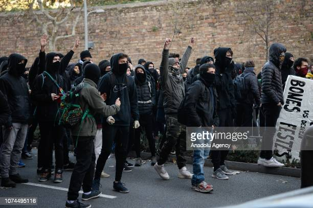 Protesters shout slogans during the cabinet meeting at the Llotja de Mar in Barcelona Spain on December 21 2018