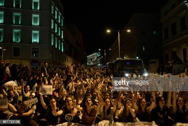 Protesters shout slogans outside the Spanish parliament during a protest in Madrid on 26 April 2018 The High Court of Navarra has given a sentence of...