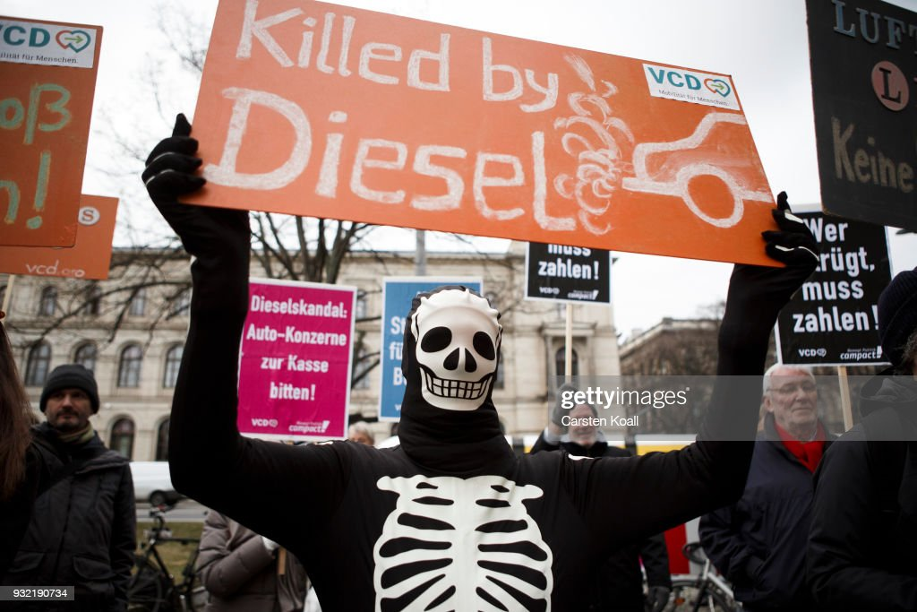 Demonstrators Protest Diesel Scandal At Transport Ministry : News Photo