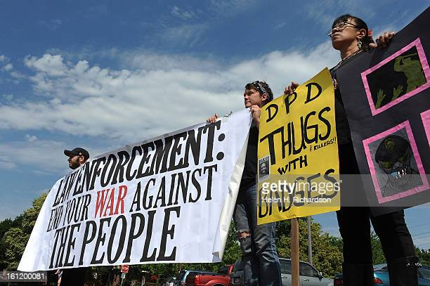 Protesters show this discontent of the Denver Police department They are from left to right David ShapiroStrano Amelia Nicol and Brenda Carrasco All...