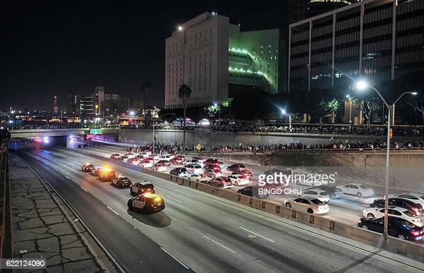 Protesters shut down the 101 Freeway a major thoroughfare in the city following a rally to protest a day after Presidentelect Donald Trump's election...