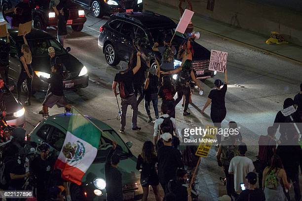 Protesters shut down the 101 freeway in opposition to the upset election of Republican Donald Trump over Democrat Hillary Clinton in the race for...