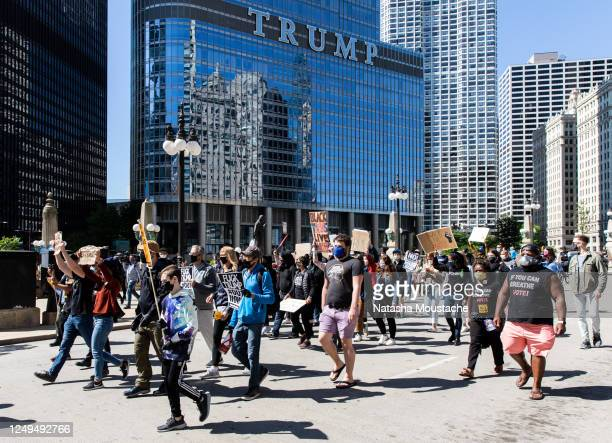 Protesters shut down the streets near Trump Tower on June 13, 2020 in Chicago, Illinois. Protests erupted across the nation after George Floyd died...