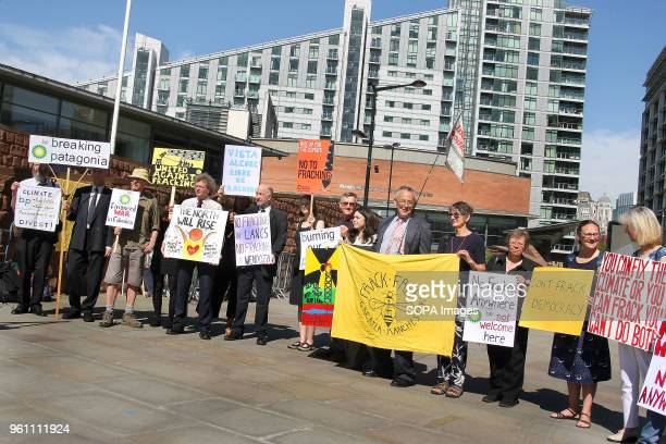 Protesters stage a Demonstration against BP outside its Annual General Meeting to highlight the companies environmental and human rights abuses in...