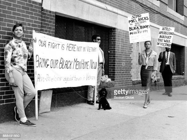 Protesters stage a demonstration against the Vietnam War in front of Selective Service Local Board 32 on Columbia Road in the Dorchester neighborhood...