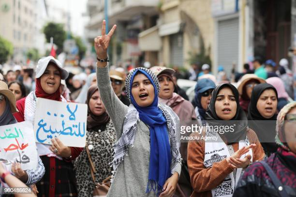 Protesters stage a demonstration in support of Gaza's ''Great March of Return'' and against United States' plans to relocate the US Embassy from Tel...