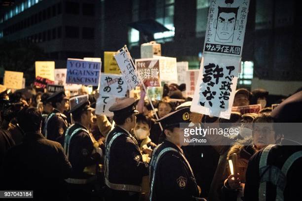 Protesters stage a demonstration near the prime minister's official residence denouncing his government policies and calling on the Japanese prime...