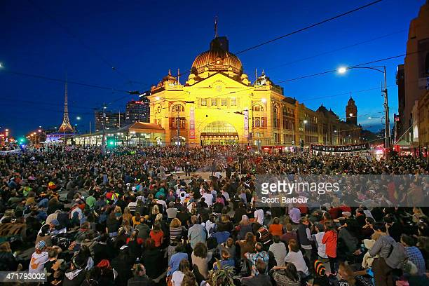 Protesters stage a sit down protest outside of Flinders Street Station on May 1 2015 in Melbourne Australia Warriors of the Aboriginal Resistance...