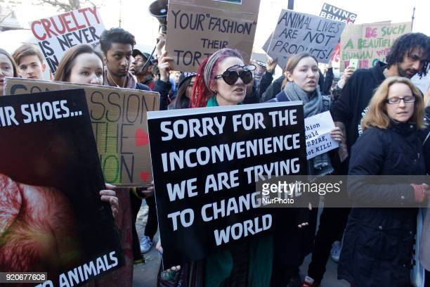 Protesters stand in front of British Fashion Council showspace during London Fashion Weak to draw public attention to use of fur in fashion industry...