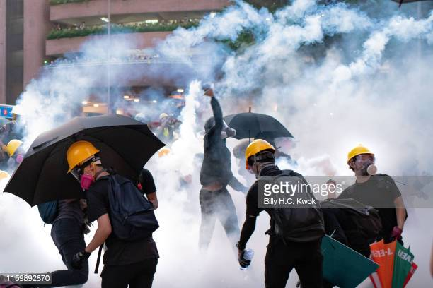 Protesters stand off against riot police at Wong Tai Sin district on August 05 2019 in Hong Kong China Prodemocracy protesters have continued rallies...