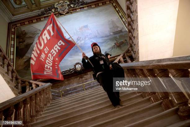 Protesters supporting U.S. President Donald Trump storm the U.S. Capitol on January 06, 2021 in Washington, DC. Congress held a joint session today...