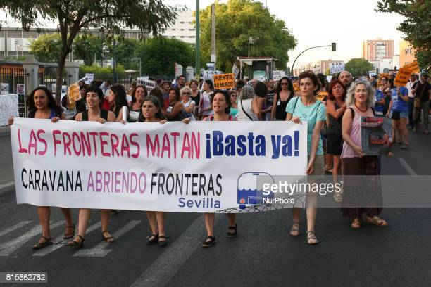 Protesters take part at the 'Caravana opening borders' in Seville Spain on 15 July 2017 The caravan manifestation opening borders is a mobilization...
